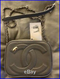 100% Authentic Chanel camera case Crossbody Bag 2019 Calfskin Gray Leather