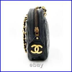 $3700 Chanel Case Camera Classic Quilted Chain Cc Black Leather Shoulder Bag
