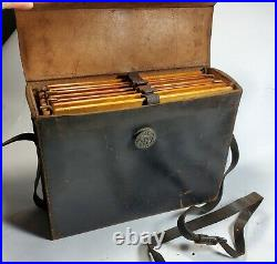 4 Antique 5 x 7 Wood Frame Film Holders /w Leather Case for glass view camera
