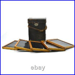 5 antique 5 x 7 Kodak wood frame glass view camera film holders w leather case
