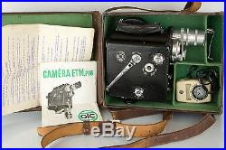 A GIC ETM P16 16mm movie camera outfit with Som Berthiot lenses in leather case