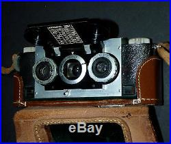 ANTIQUE VTG STEREOVIEW RETRO 3D STEREO REALIST FILM CAMERA With LEATHER CASE