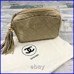 AUTHENTIC Chanel Vintage Lambskin Quilted Tassel Camera Case Shimmer Beige Small