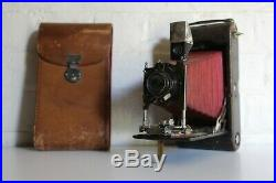 Antique Large KODAK Red Bellows Camera Original Leather Case Fully Working