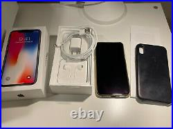 Apple iPhone X 64GB Black UNLOCKED Excellent Cond with Genuine Apple Leather Case