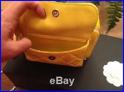 Authentic Chanel Camera Case Bag Yellow Pearlescent Patent Leather