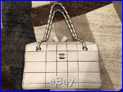 Authentic Chanel Camera Case White Quilted Chain Shoulder Bag