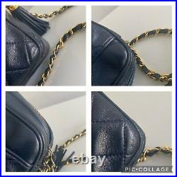 Authentic Chanel Vintage Quilted Camera Bag In Navy With Gold Hardware