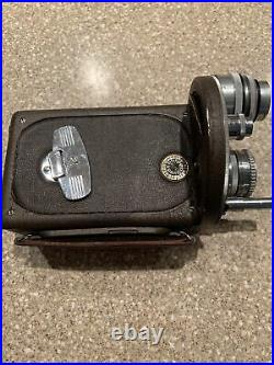Bell&Howell Auto Master 16mm Vintage Movie Camera 3 Lenses Leather Case Untested
