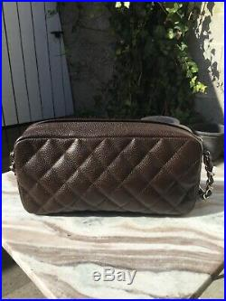 CHANEL $2800 Camera Case Dark Brown Quilted Caviar Leather CC Shoulder Bag