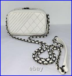 CHANEL Lambskin Quilted Bag Mini Coco Boy Camera Case White Crossbody Shoulder