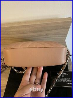 CHANEL Nude Diagonal Quilted Calfskin Leather Mini Camera Case Bag