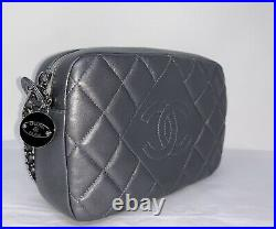CHANEL Quilted Lambskin Camera Case Crossbody Shoulder Bag Metallic Dark Silver
