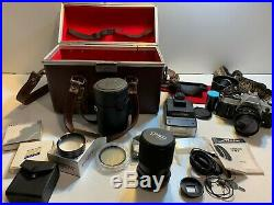 Canon AE-1 Film Camera Silver Flash Lens Zoom 35mm to 100mm Leather Case