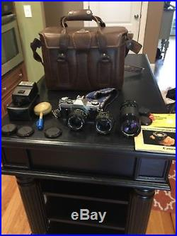 Canon AE-1 Film Camera with 3 Lenses & Awesome Leather Case, Very Clean