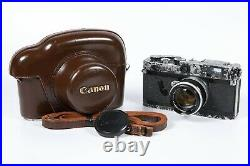 Canon P Rangefinder 35mm Film Camera Repainted with 50mm F1.8 + Leather Case Japan