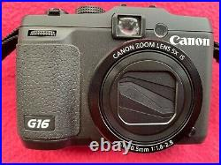 Canon PowerShot G16 12.1MP Digital Camera Black Used with box + leather case