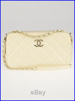 Chanel Beige Quilted Patent Leather Small Camera Case Crossbody Bag