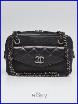 Chanel Black Caviar and Quilted Lambskin Leather CC Break Camera Case Bag