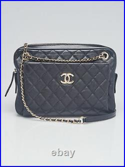 Chanel Black Quilted Lambskin Leather Camera Case Bag