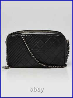 Chanel Black Quilted Lambskin Leather Coco Boy Large Camera Case Bag