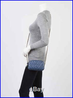 Chanel Blue Chevron Quilted Leather Mini Camera Case Bag