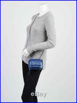 Chanel Blue Quilted Patent Leather Mini Camera Case Bag