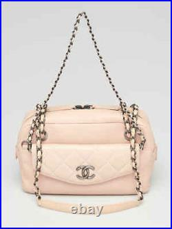 Chanel Pink Caviar and Quilted Lambskin Leather CC Break Camera Case Bag