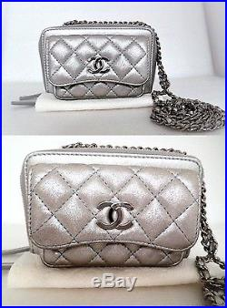 Chanel Pocket Box Camera Case Silver Leather Quilted Mini Cross-body Bag $3100