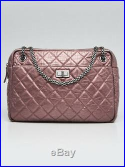 Chanel Purple Metallic Quilted Calfskin Leather Large Reissue Camera Case Bag