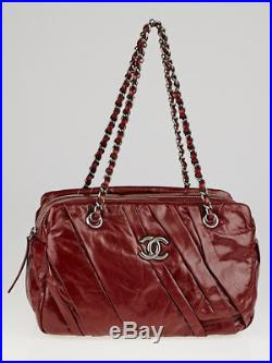 Chanel Red Glazed Leather Calfskin Twisted Camera Case Bag