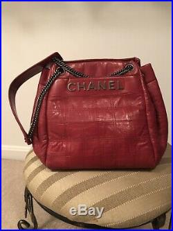 Chanel Red Quilted Drawstring Bag Camera Case Silver Logo-Gently Used