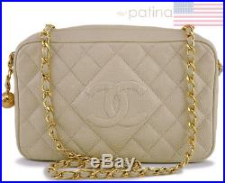 Chanel Vintage Light Beige Caviar Classic Quilted Camera Case Bag 62628