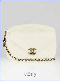 Chanel White Quilted Leather Herringbone Small Camera Case Bag