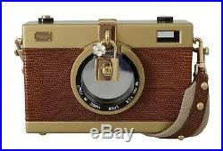 DOLCE & GABBANA Bag Purse Camera Case Brown Leather Gold Iconic Hand RRP $3200