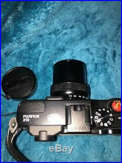 FUJIFILM X10 12.0MP Digital Camera Black Body Body with Leather Case And Batteries