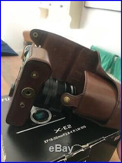 Fujifilm X-E2 camera silver body and XF18-55mm lens kit & Leather case