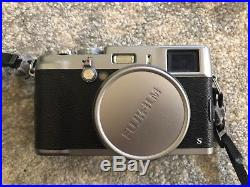 Fujifilm X100S 16.3MP Digital Camera Silver with Brown Leather Case & Batteries