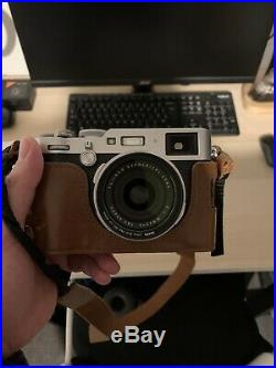 Fujifilm X100f Camera Silver With Brown Leather Case HARDLY USED! Imacu