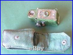 Green Coronet Midget 16mm 1930's Spy Camera with Green Leather Case
