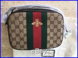 Gucci Bee Brown Web Camera Case Webby Red Stripe Camera Leather Bag Italy New