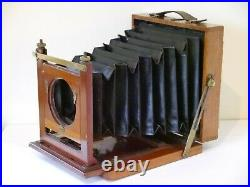 Half Plate Mahogany & Brass Folding Camera with Plate Holder & Leather Case