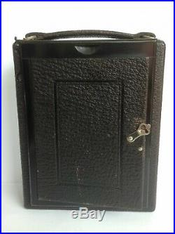 Klimax vintage folding plate camera with film, 6 holders and leather case. RARE