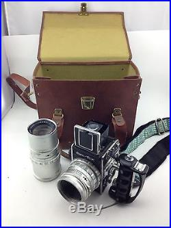 Kowa SIX Camera with 85mm & 250mm Lenses, Handle, Leather Travel Case Vintage LOT