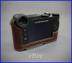 LIM'S Design Genuine Leather Camera Metal Grip Half Case for Leica CL Brown