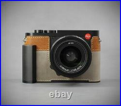 LIM'S Genuine Leather Camera Half Case Dovetail Plate For Leica Q2 Gray/Brown