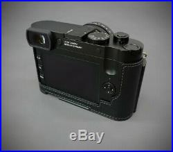 LIM'S Genuine Leather Camera Half Case Metal Grip Dovetail Plate For Leica Q2 BK