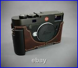 LIM'S Leather Camera Metal Grip Half Case Dovetail for Leica M10 M10P Brown