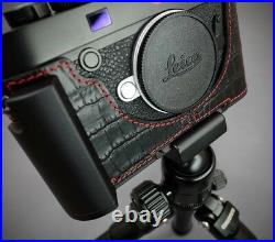 LIM'S Leather Metal Grip Half Case Dovetail Plate for Leica M10 Crocodile Black
