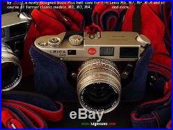 LUIGI's BLUE & RED CASE for LEICA M2-M3-M4-M6-M7-MP, LINED STRAP+UPSDHL INCLUDED